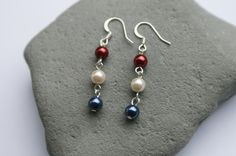 Patriotic Glass Pearl Dangle Earrings by creationsbycandice, $6.00
