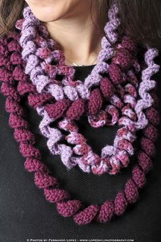 Spiral Loop Scarf...Stitches used: chain, half double crochet, double crochet...Size H hook, three colors worsted-weight yarn, tapestry needle...Finished loops are approx. 50 in., 54 in., and 58 in. long.
