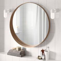 IKEA STOCKHOLM Mirror Walnut veneer 80 cm Provided with safety film - reduces damage if glass is broken. Ikea Mirror, Bathroom Renos, Walnut Veneer, Ikea, Bathroom Mirror, Stockholm Mirror Ikea, Round Mirror Bathroom, Ikea Stockholm, Mirror