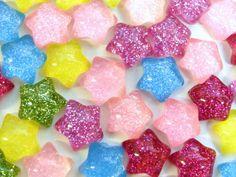 10x 13mm Glittery Star Cabochons by CuteCornwall on Etsy, £2.00