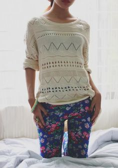 Floral pants and sweater #fallstyle