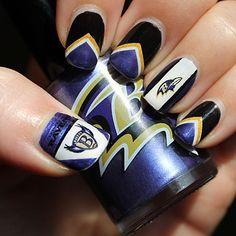 (Baltimore Ravens Manicure) - Nail art by Pink Football Nail Designs, Football Nail Art, Swag Nails, Fun Nails, Baltimore Ravens Nails, Rabe, Diy Nail Designs, Super Nails, Fabulous Nails