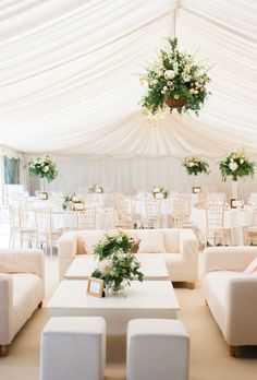 Beautiful Wedding Tent Ideas: Peach Tent and Cozy Couches | Brides.com