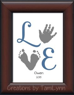 Baby Boy LOVE Footprint & Handprint by CreationsbyTamiLynn