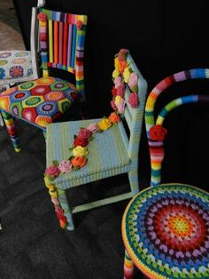 Crochet Chairs - love love love. Not the most practical but who cares!!!