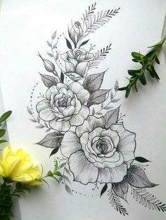 40 Easy Flower Pencil Drawings For Inspiration - Tattoos - Tatuajes Beautiful Flower Drawings, Pencil Drawings Of Flowers, Flower Tattoo Drawings, Flower Tattoo Designs, Tattoo Sketches, Beautiful Tattoos, Drawing Flowers, Rose Drawing Tattoo, Tattoo Roses