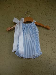 Monogrammed Blue Seersucker Pillowcase Bubble Romper - sizes 3m - 24m....PERFECT for SPRING and SUMMER