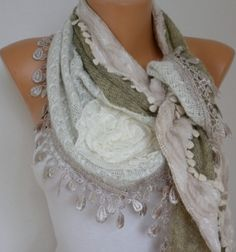 ON SALE - Fabric Knitted Lace Scarf  -  Plush Shawl Scarf  Flower Scarf -  Cowl Scarf - Beige - fatwoman on Etsy, $25.00