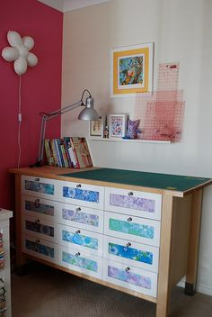 IKEA kitchen island used for cutting table with storage  #sewing  #IKEA  http://www.flickr.com/photos/chaletgirl13/