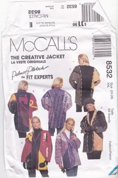 Check out the appliques - sewing machine, dress form, scissors - awesome! McCall's 8532 Pattern uncut XXL 24 26 The Creative Jacket Palmer and Pletsch