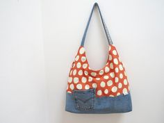 XXL Schultertasche Jeans + Rot Big Bag Upcycling