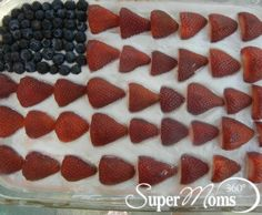 Berry Patriotic Cake - A great treat to bring to a Memorial Day cookout, Fourth of July celebration or your next summer block party! Tags: easy summer dessert | patriotic snack | patriotic dessert | SuperMoms360.com