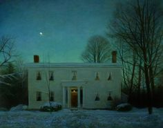 "Wayne Daniels ""Winter Evening, Lincklaen Street"" , oil on board, 16 x 20"""