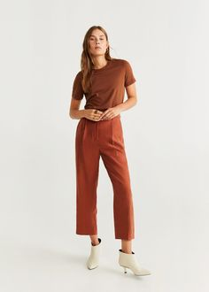 MANGO presents you its new collection. Have a look at our online catalogue and discover the latest fashion trends surfing along the jeans, T-shirts and . Organic Cotton T Shirts, Mango Fashion, Short Tops, Latest Fashion Trends, Fashion Online, Cotton Fabric, Cool Outfits, Normcore, Casual