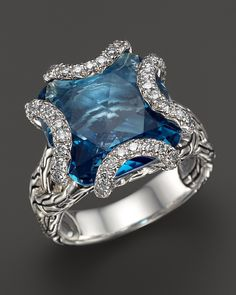 Stunning blue and silver designer ring.  John Hardy Batu Classic Chain Sterling Silver Medium Braided Ring with London Blue Topaz and Diamonds