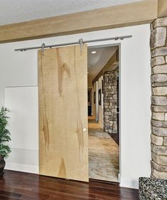 FLS-Birch Contemporary Barn Door Track System IB - wood is like our spelt beech Contemporary Barn, Modern Barn, Barn Door Track System, Solid Core Interior Doors, Agricultural Buildings, New Bathroom Ideas, Interior Decorating, Interior Design, Modern Spaces
