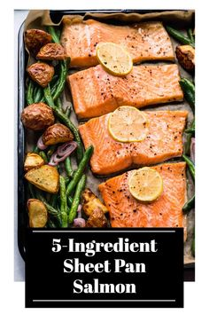 5 Ingredient Sheet Pan Salmon is the perfect dinner for busy weeknights! This complete seafood dinner cooks in just 30 minutes and the cleanup is easy too! // and veggies // and potatoes // and green beans // one // recipe // healthy Salmon Dinner, Seafood Dinner, Best Seafood Recipes, Salmon Recipes, Healthy Recipes, A Food, Good Food, Yummy Eats, Yummy Yummy