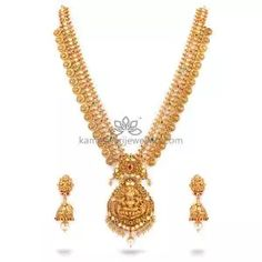 Buy Necklaces Online   Kanti Carved With CZ Pachi Pendant from Kameswari Jewellers Pearl Necklace Designs, Jewelry Design Earrings, Necklace Set, Gold Jewelry Simple, Necklace Online
