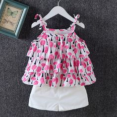 Buy Fuchsia Strap Sleeves Top and Shorts Set online @ Cute Baby Dresses, Baby Girl Party Dresses, Dresses Kids Girl, Baby Frocks Designs, Kids Frocks Design, Baby Girl Fashion, Kids Fashion, Cheap Fashion, Fashion Clothes