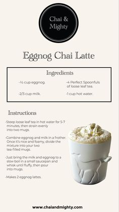 Here is an easy recipe for the eggnog chai latte that is really simple to make and is tastier and healthier than ever! Tea Drinks, Dessert Drinks, Smoothie Drinks, Coffee Drinks, Desserts, Barista Recipe, Chai Recipe, Tea Recipes, Snack Recipes