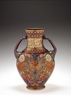 """""""Persian Series"""" Large Enameled Vase by Georg Rehlander for J. & L. Lobmeyr, Manufacturer. Vienna, c.1878"""