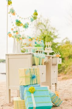 Soft palate of mint, aqua, lime and yellow for a baby shower