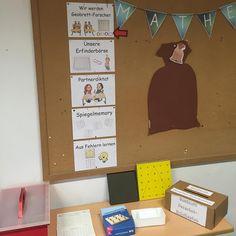 """Heute haben wir in Mathe mit dem Thema """"Geobrett"""" begonnen. Hier seht ihr unseren Thementisch. Darauf befinden sich alle Arbeitsmaterialien: kleine und große Geobretter, Arbeitsblätter, ein Forscher-Briefkasten in den auf Punktefeldern dokumentierte Erfindungen geworfen werden sowie das Spiel """"Umspannwerk"""". An der Wand die Thementransparenz sowie der Wörtersack, der in den nächsten Stunden mit dem benötigten Wortschatz gefüllt wird. Heute haben die Kinder erste Erfahrungen mit dem Geobrett…"""