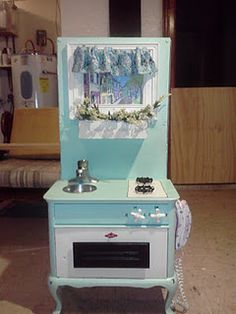 Play kitchen from a night stand/end table