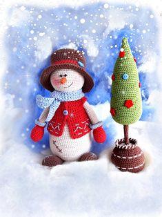 Crochet Snowman, Christmas Crochet Patterns, Crochet Patterns Amigurumi, Amigurumi Doll, Crochet Christmas, Diy Christmas Tree, Christmas Toys, Christmas Decorations, 242