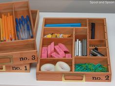 Spool and Spoon: Anthro Knock-Off: Stacking Wood Trays Folder Organization, Small Space Organization, Office Organization, Stacking Wood, Knock Off Decor, Organizing Your Home, Organizing Drawers, Organizing Tips, Staying Organized