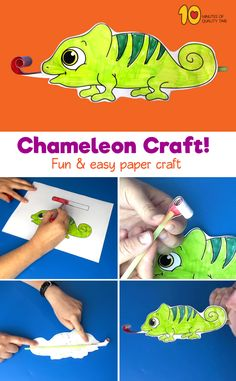 Chameleon With Moving Tongue Paper Craft! #animalcrafts#papercrafts