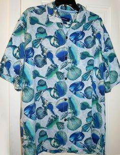 Tommy Bahama Silk Hawaiian Button-Front Shirt Men/'s 2XL *NEW $128.00* Blue