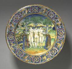 Plate: The Three Graces  Maestro Giorgio Andreoli (Italian, 1465-70-aft 1553)    Date: 1525    Medium: tin-glazed earthenware with gold lustre (Maiolica)