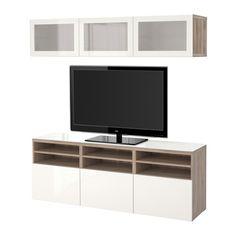 BESTÅ Alm TV - riel para cajón con cierre suave, efecto nogal tinte gris/Selsviken alto brillo/vidrioesmerilbl - IKEA