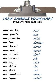 Free Audio Lesson. Learn the names of Pets and Farm Animals in French.