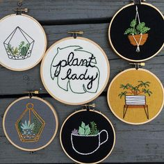 plant lady embroidery hoop