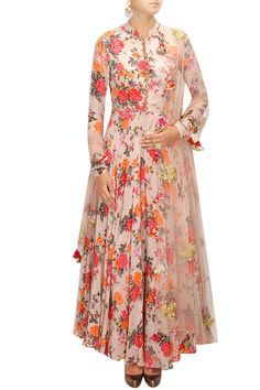 BHUMIKA SHARMA Pink floral print embroidered anarkali set available only at Pernia's Pop-Up Shop.