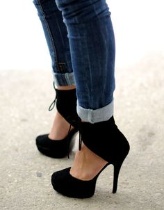 "Ankle tie black heels - I literally did a double take and uttered ""oh my god."" Just...wow. wf"