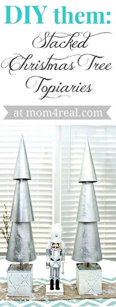 DIY Them - Stacked Christmas Tree Topiaries at mom4real.com