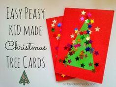 20 cartões de natal criativos para fazer com os filhos - cartao arvore com estrelinhas                                                                                                                                                                                 Mais