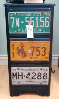 Small chest transformed with old license plates (this one by Urban Twiggs-Etsy) Car Part Furniture, Furniture Projects, Furniture Makeover, Home Projects, Diy Furniture, Projects To Try, License Plate Crafts, Old License Plates, License Plate Art