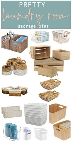 Laundry room baskets and bins for beautiful storage. Laundry Room Baskets, White Laundry Rooms, Laundry Room Shelves, Small Laundry, Laundry Decor, Laundry Area, Laundry Tips, Small Space Storage, Small Shelves