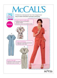 Learn to Sew for Fun Misses'/Miss Petite Romper, Jumpsuit and Belt Loose-. - Jumpsuits and Romper Romper Pattern, Jumpsuit Pattern, Jacket Pattern, Mccalls Sewing Patterns, Vogue Patterns, Pattern Sewing, Dress Patterns, Loom Patterns, Clothing Patterns