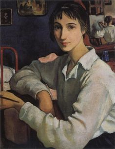 Zinaida Serebriakova ~ Self-Portrait in a White Blouse, 1922 Zinaida Serebriakova came from a talented artistic family, her father being the sculptor Evgeny Lanceray and her uncle the Ballets Russes designer Alexander Benois. She began to draw at a very early age selecting simple subjects from daily life surrounding her, such as her family and the landscape in her native village of Neskuchnoye.