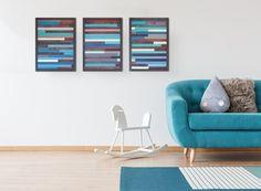 Large Reclaimed Wood Wall Art, Set of Three, Wood wall art, 3 piece wall art by TKreclaimedART on Etsy