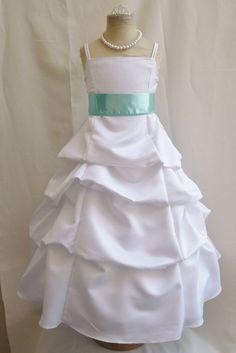 Flower Girl Dress WHITE/Blue Aqua SPU Wedding by NollaCollection, $33.99