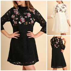 UMGEE Black Floral Embroidered V-Neck Long Sleeve Dress USA Boutique