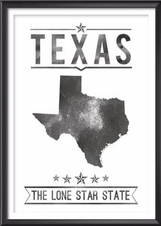 Texas State Typography Print