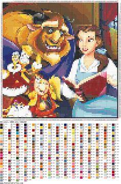 Disney Hama Beads Pattern, Disney Cross Stitch Patterns, Perler Patterns, Disney Stitch, Beauty And The Beast Cross Stitch, Stitch Character, Modern Cross Stitch, Rainbow Loom, Crochet Blanket Patterns