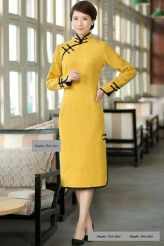 Long-Sleeve Piped Long Cheongsam - Shanghai Finch Qipao  b45c3dbd4105